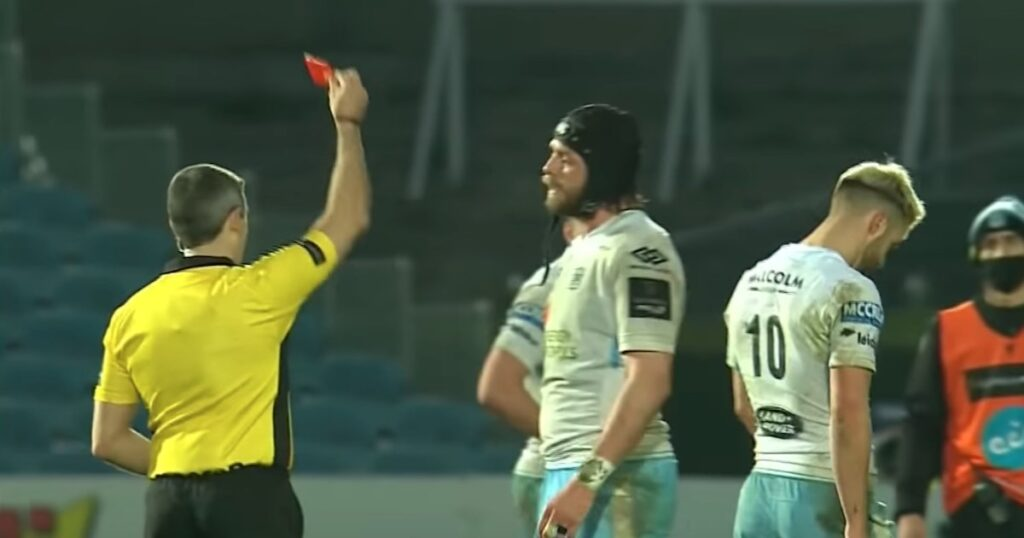 Nasty boot to the face results in red card for Adam Hastings