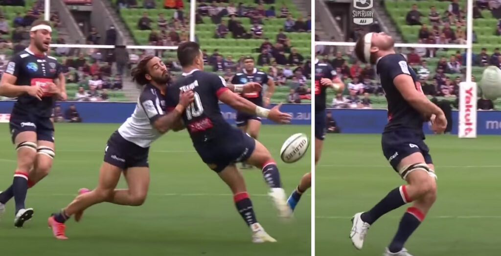 WATCH: Comedy gold as close range 'falcon' gifts Brumbies try in Super Rugby AU match
