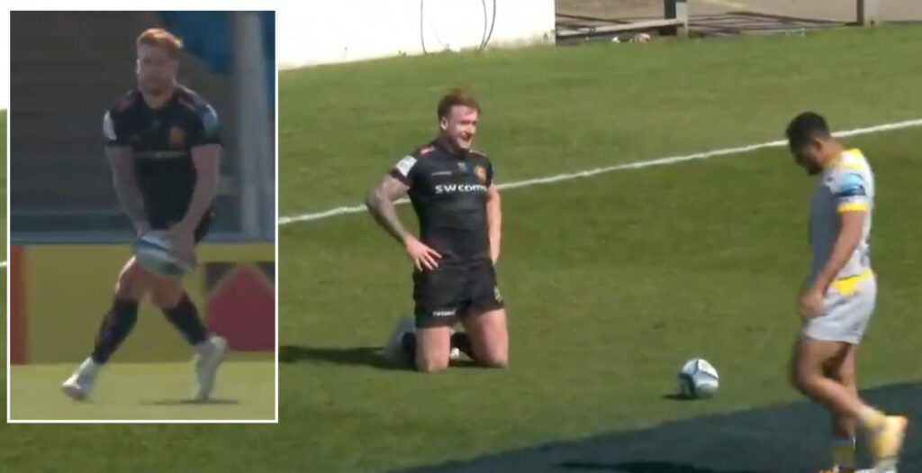 WATCH: Hogg collects his own 60-metre spiral kick to score amazing solo try