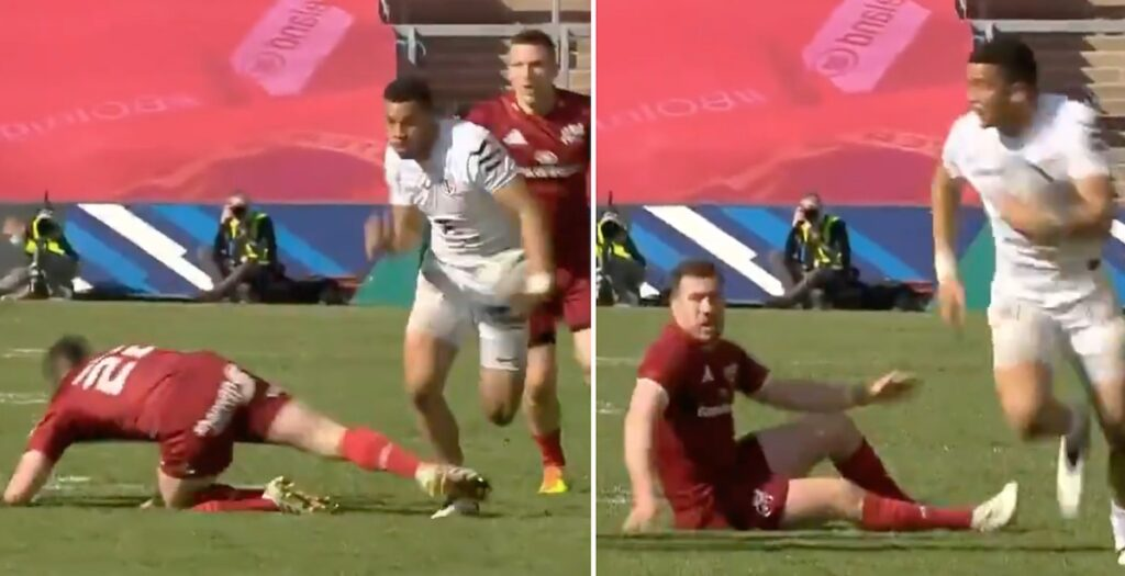 WATCH: Every angle of Lebel's EPIC step which left Munster defender on his knees
