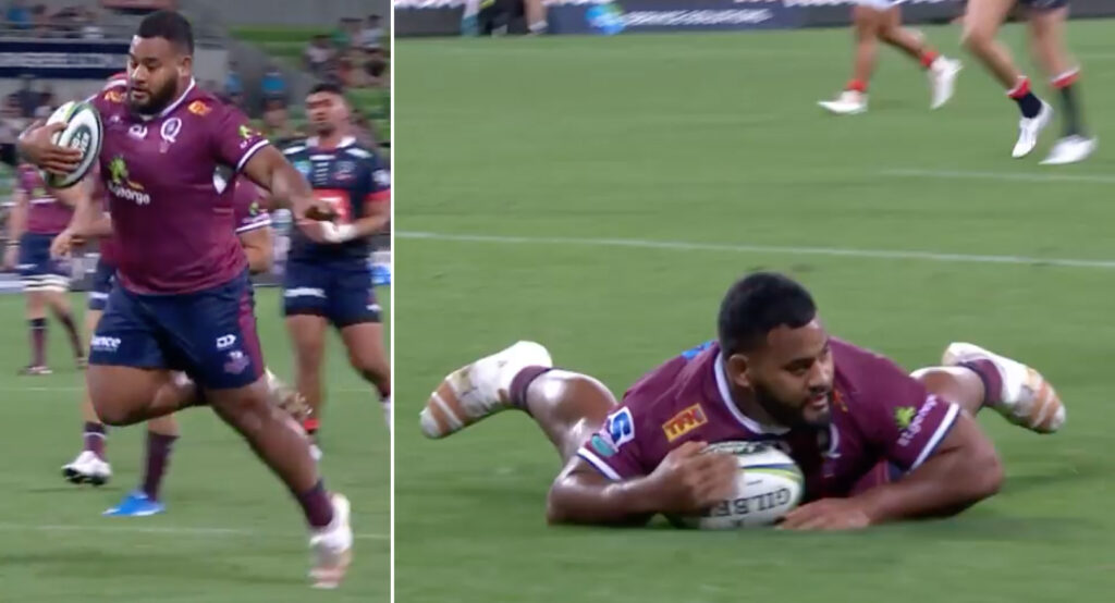 WATCH: 135kg prop lines up swan dive from 20 metres out... then re-thinks