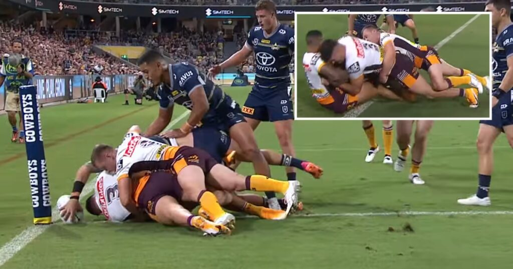 Player appears to magically grow extra arm to score unbelievable try in NRL match