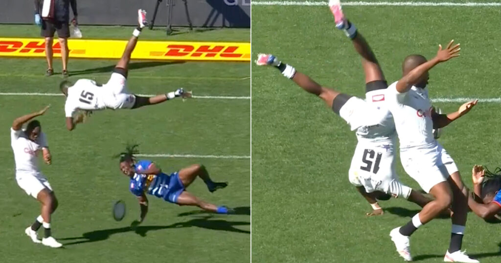 Two of SA's fastest men collide with unbelievable 360 flip that has unsurprising outcome