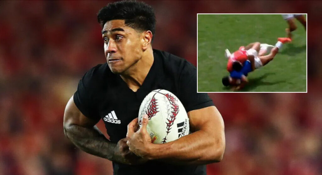 Malakai Fekitoa delivers punishing tackle for country of birth at Monaco 7s
