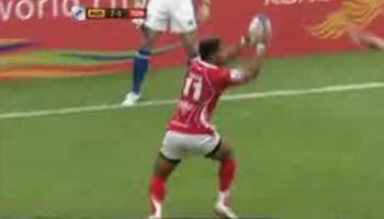 Cheeky Tongan try at the Hong Kong Sevens